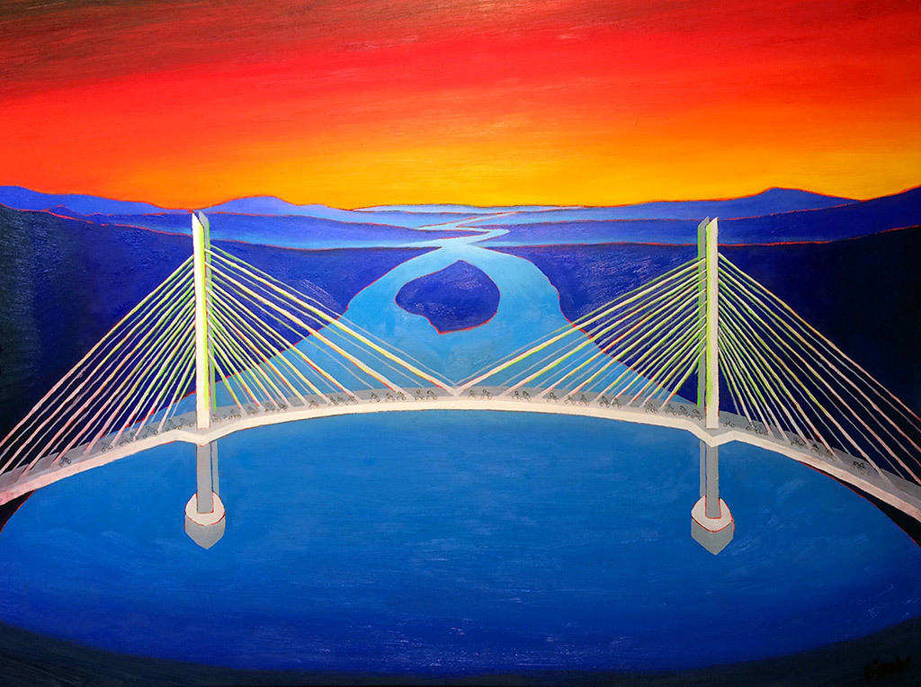 Christopher Bibby, Tillikum Crossing Portland OR, oil