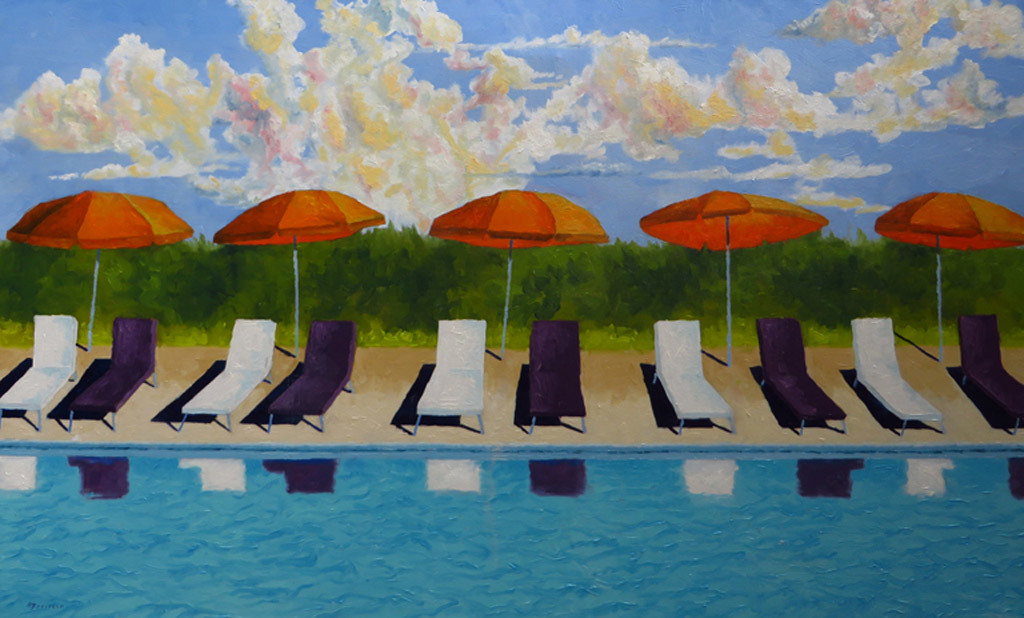 Mitchell Freifeld, Five Umbrellas, oil on canvas
