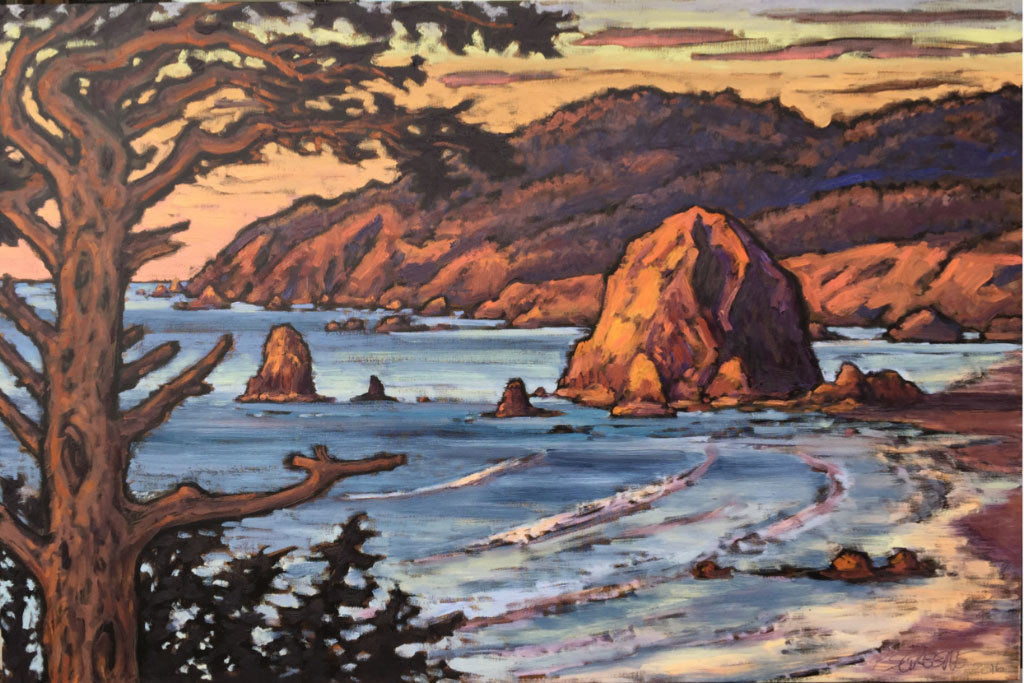 Pamela Greene, Behold the Haystack Rock, oil on canvas