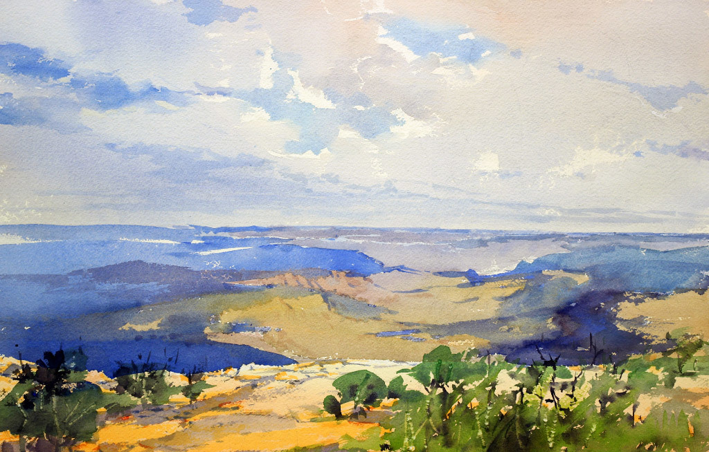 Yong Hong Zhong, A Cloudy Day at the Grand Canyon NP, water color