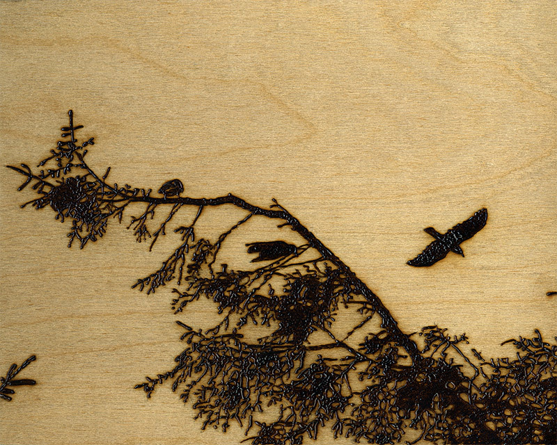 Peter Greaver, Crows 4, pyrograph
