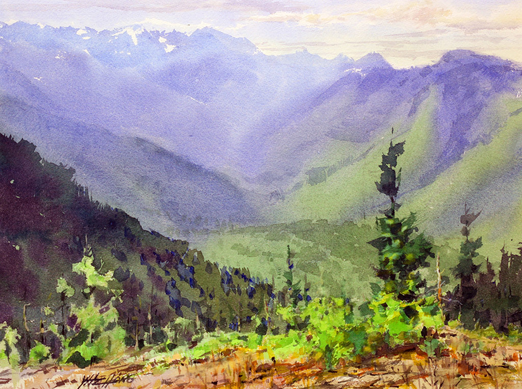 Yong Hong Zhong, Hurricane Ridge at the Olympic NP, water color